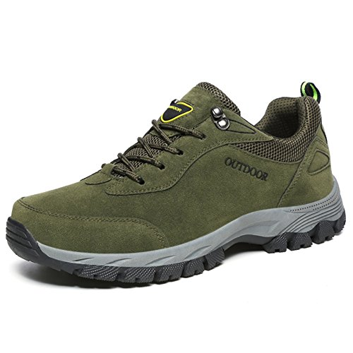 NEOKER Mens Hiking Walking Shoes Trekking Boots Outdoor Sports Low Rise Climbing Lace Up Sneaker Army Green 44