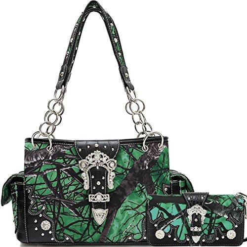 Blancho Biancheria da letto delle donne [Rami] PU cinturino in pelle Portafoglio Titolare Zipper borsa Green Card Combo-Green