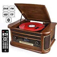 7-in-1 DAB Plattenspieler Vintage Holz mit Bluetooth, UKW-Radio, integrierte Stereo-Lautsprecher, CD / MP3 / Cassette Spielen, USB Play & Encoding