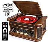 D & L 7-in-1 DAB Plattenspieler Vintage Holz mit Bluetooth, UKW-Radio, integrierte Stereo-Lautsprecher, CD / MP3 / Cassette Spielen, USB Play & Encoding (Vintage Wood-BD99-EU) (Vintage -189BD99EU)