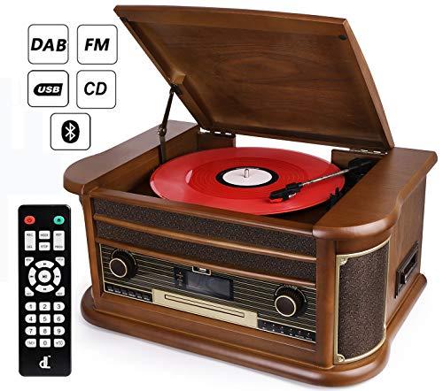 D & L 10 en 1 Platine Vinyle Bluetooth Vintage, Platine Disque Radio Dab FM, Lecteur CD / MP3 / Cassette, Lecteur USB et Encodage avec Haut-parleurs Stéréo Intégrés
