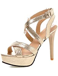 CBIN&HUA Zapatos de mujer-Tacón Stiletto-Tacones / Plataforma / Punta Abierta-Sandalias-Vestido / Fiesta y Noche-Semicuero-Negro / Plata / Oro , golden , us11 / eu43 / uk9 / cn44