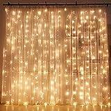 LED Lichtervorhang, ECOWHO Warmweiß 300 LED Lichterkette Innen, 8 Modi IP44 Wasserdicht Lichterkettevorhang für Weihnachten, Hochzeit, Party, Schlafzimmer, Haus Deko(3x2.5M)