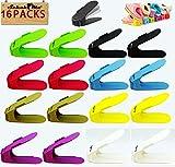 SchuhMe® 16 x Verstellbarer Profi Schuhstapler/Schuhhalter – Magic Shoe Rack Organizer - Sparset für 16 Paar Schuhe (Bunt)