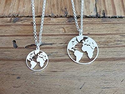 Collier fin carte du monde argent 925 -Collier globe terrestre- Collier chaine argent- Mappemonde- Planète terre- Voyage- Globe terrestre