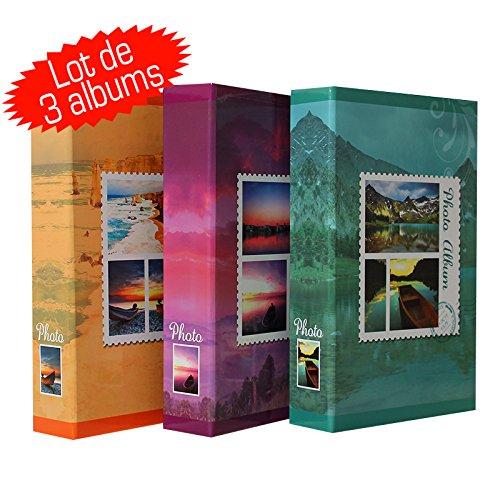 LCD - Set di 3 album, con tasche per 200 foto, 10 x 15 cm, motivo: francobolli