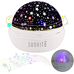 Sunvito Estrella Noche Proyector de la Lámpara con 12 Tipos Luz Música, 360 Grados Giratoria Luz la Carga del USB de la lámpara para Niños Adultos Habitación Sala (White)