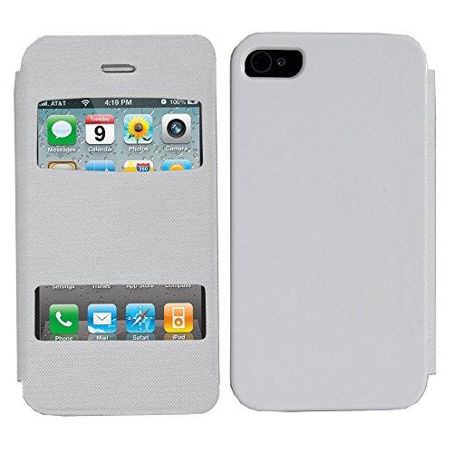 VComp-Shop® PU-Leder Schutzhülle mit Sichtfenster für Apple iPhone 4/ 4S/ 4G + Großer Eingabestift - SCHWARZ WEISS