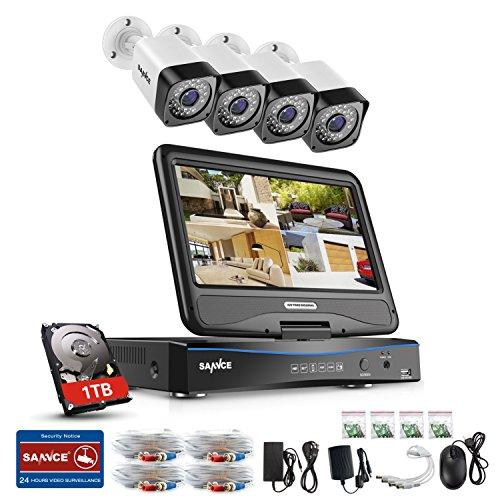 SANNCE-Kit-de-Seguridad-4CH-DVR-con-monitor-y-4-Cmaras-de-vigilancia-720POnvif-P2P-DVR-4-Canales-720P-CCTV-Cmara-Bala-IR-CUT-Visin-nocturna-IP66-InteriorExterior-1TB-disco-duro-de-vigilancia