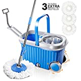 Masthome Mop and Buckets Sets with 3 Replacement Microfiber Mop Heads Stainless Steel