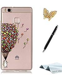 Coque Huawei P9 Lite,Housse Huawei P9 Lite,TOUCASA Anti Choc Silicone Coque,Bling  Mince Souple Premium Hybrid Crystal Clear Flex Soft Gel… 36bd994cd6c
