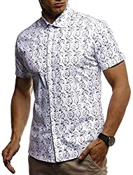 Leif Nelson Herren Hemd Kurzarm Slim Fit T-Shirt Kentkragen Stylisches Männer Freizeithemd Stretch Kurzarmhemd Jungen Basic Shirt Freizeit Sweater Sommerhemd LN3755 Weiß Small