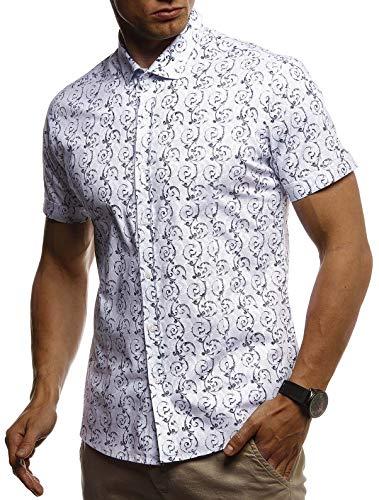 LEIF NELSON Herren Hemd Kurzarm Slim Fit T-Shirt Kentkragen | Stylisches Männer Freizeithemd Stretch Kurzarmhemd | Jungen Basic Shirt Freizeit Sweater Sommerhemd | LN3755 Weiß Small Stretch-sweatshirt