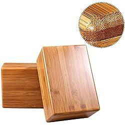 De bambú para ejercicio y fitness, herramienta deportiva ecológica y renovable para yogis, bloque natural con bordes redondeados, cómodo, cortado a mano, resistente y ligero, accesorio esencial para entrenamiento corporal