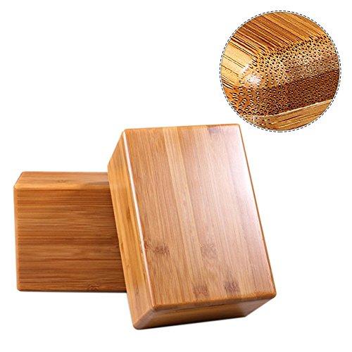 Comaie Premium Bambus Yoga-Block, Fitness, Sport- und verlängerbar, umweltfreundlich, Kork für Yogis Natur mit abgerundeten Kanten, mit Hand-Cut stabil, leicht, mit Zubehör für Workout,