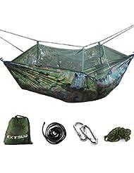 Extsud Hamac Double de Camping Jardin Voyage avec Moustiquaire Mousquetons Sangles Transport Sac 260x140cm Max Charge 200kg