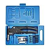 KRAFTPLUS® K.105-2496 - Set universale di pinze rivettatrici, testa girevole a 360°, 10 pezzi