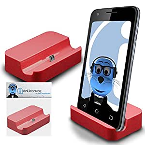 Red Micro USB Sync & Charge / Charging Desktop Dock Stand Charger For Samsung Galaxy A3 SM-A300F