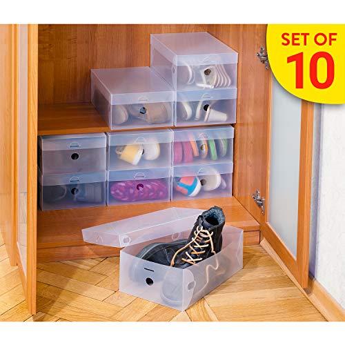 Tatkraft Glasgow   16118   10 STK. Universal Schuhbox, Schuhaufbewahrung Schrank   Kunststoff Transparent, Gerippt   Schachteln Faltbar   21x34x13 cm