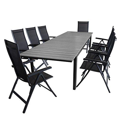 Multistore 2002 9tlg. Gartengarnitur Aluminium Polywood Gartentisch 280/220x95cm + 8x Hochlehner 4x4 Textilenbespannung Gartenstuhl - Gartenmöbel Sitzgarnitur Sitzgruppe
