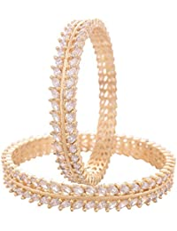 Ratnavali Jewels Beautiful CZ/AD Studded Gold Plated Traditional Marquise American Diamond Bangles Set For Women...
