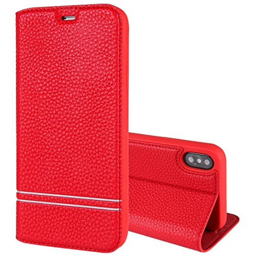 Für iPhone 5.8 Zoll Fall, Für IPhone X Litchi Textur Horizontal Flip Ledertasche mit Halter & Kartensteckplätze (5,8 Zoll) ( Color : Red )