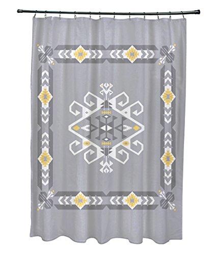 E von Design Jodhpur Design Bordüre 3, geometrische Print Vorhang für die Dusche, grau