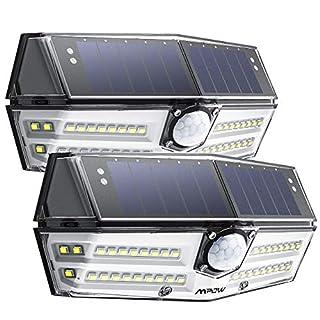 【1800 mAh Batterie】Mpow 2 PACK 40 LED Lampe Solaire Extérieur 3 Modes Intelligents Etanche IP66 Détecteur de Mouvement, 270° Grand Angle, Eclairage Extérieur pour Jardin, Allée,Garage, Escaliers