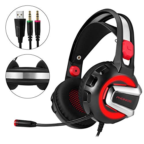 Price comparison product image Gaming Headset for Phoinkas H4 Stereo Headset for PS4 Xbox One PC Laptop Nintendo Switch with Mic LED Light Splitter and Volumn Control Headphones - Volume Control (Black and Red)