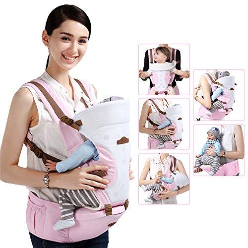GBlife MARSUPIO NEONATO ergonomico regolabile per neonato baby CARRIER confortevole e respirante Fascia porta bebe MULTIFUNZIONALE con SEGGIOLINO da anca (Rosa chiaro)