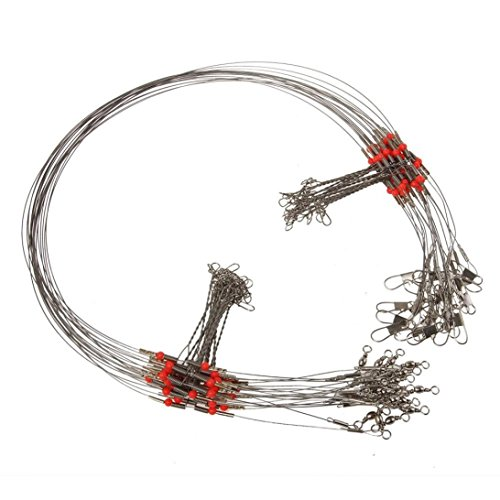 FORH Angelausrüstung 10 Stück Angeln Drahtführer Trace mit Snap Draht Führer Angeln Werkzeug Edelstahl Stahlvorfächer Wirbel Linie (Silver) -