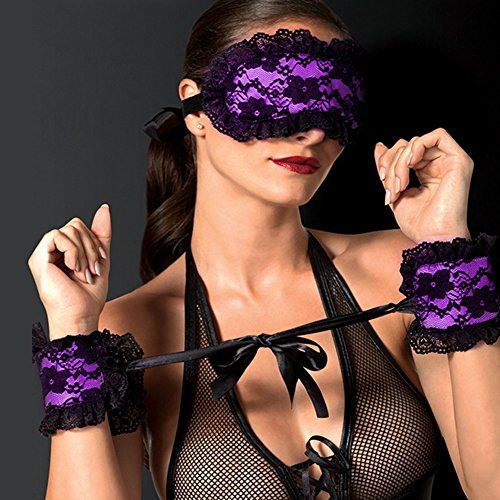 Yiwa Lace Binding Sexy Blindfold Eyeshade with Handcuff for Adult SM Games Flirt Sex Toy 3Pcs/Set
