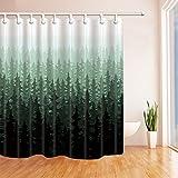 Rrfwq Natur-Waldlandschaftsdekor-Aquarell-Kiefer-Duschvorhänge für Badezimmer-Polyester-Gewebe-wasserdichte Bad-Vorhang 70.8X70.8in Duschvorhang-Haken schlossen ein, dunkelgrün