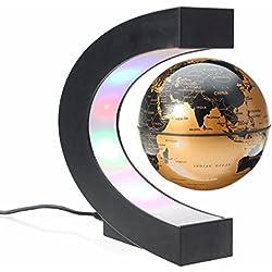 Decoración divertida de forma C Globo flotante de levitación magnética con luz LED Mapa Globo mundo antigravedad Niños Navidad regalo de novedad Decoración de Santa Navidad Inicio (Oro)