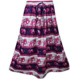 Mogul Interior Womans Long Skirt Pink Elephant Print A-Line Boho Gypsy Skirts