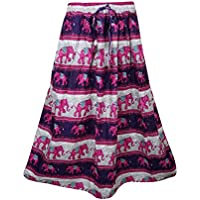 Mogul Interior Womans Long Skirt Pink Elephant Print A-Line Boho Gypsy Skirts