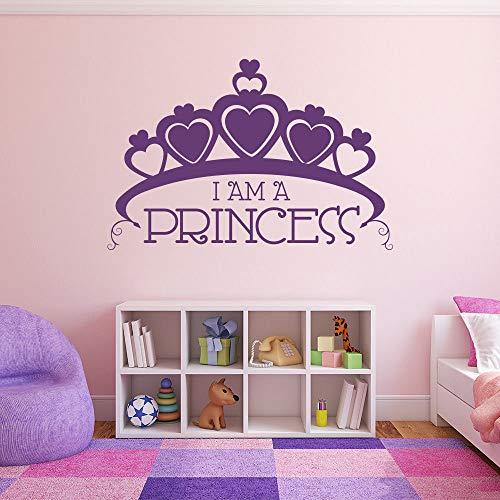 ne Wandtattoo Ich Bin Eine Prinzessin Text Vinyl Wandaufkleber Home Girls Room DecorHerzformWandbild Prinzessin Krone Decals Ay86x57 cm ()