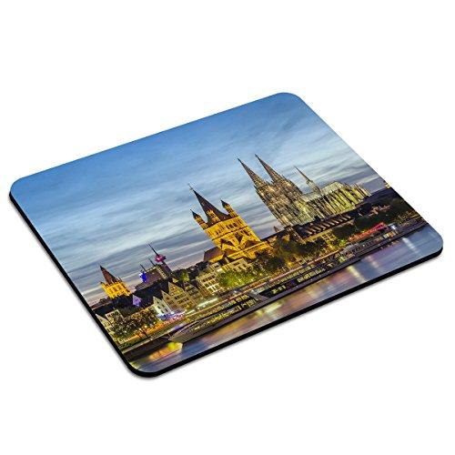 PhotoFancy - Mousepad Köln - Städte-Mauspad mit Motiv Abendstimmung Rheinpanorama mit Rathaus, St. Martin und Kölner Dom - Stadt Rathaus