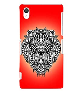 Fiobs Designer Back Case Cover for Sony Xperia Z2 (5.2 Inches) (Lion mask Grey wild )