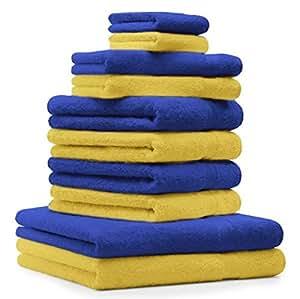 10 tlg. Badetuch Duschtücher Set Handtücher Classic Premium Farbe Gelb & Royal Blau 100% Baumwolle 2 Seiftücher 2 Gästetücher 4 Handtücher 2 Duschtücher