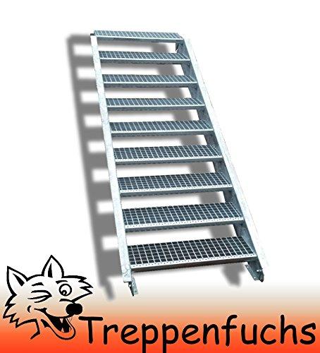 9 Stufen Stahltreppe Breite 120cm Geschosshöhe 135-180cm / Robuste Außentreppe / Wangentreppe / Stabile Industrietreppe für den Außenbereich / Inklusive Zubehör