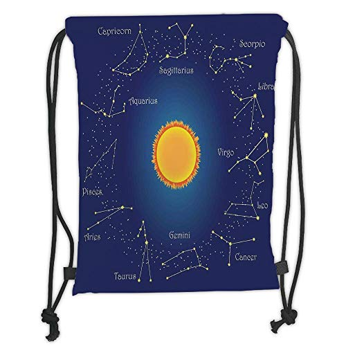 Sky Chart (Juzijiang Drawstring Sack Backpacks Bags,Astrology,Celestial Star Chart Constellation Around Sun on The Sky Aries Decorative,Dark Blue Orange Soft Satin Closure,5 Liter Capacity,Adjustable.)