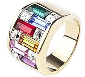 Women's High End Colour Block Designer Ring. 13mm Wide Crystal Multi Colour Band. 7.3mm Swarovski Elements Baguette Crystals. Gold Filled. Outstanding Quality