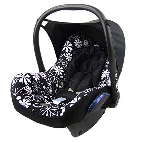 Babys-Dreams Ersatzbezug für Maxi-Cosi CabrioFix 6 tlg. SCHWARZ + WEISSE BLUMEN *NEU* Bezug für Babyschale Sommerbezug Cabrio Fix
