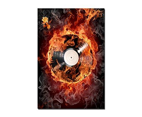 120x80cm-WANDBILD-Schallplatte-Feuer-Rauch-Musik-Leinwandbild-auf-Keilrahmen-modern-stilvoll-Bilder-und-Dekoration