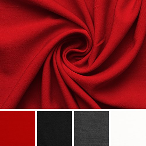 Wolltuch Feingabardine - Elasthan - Wolle - Stoff Meterware - 4 Farben (tangorot) (Gabardine Schwarze Stoff Wolle)