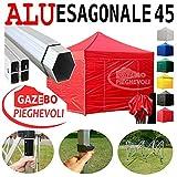 Gazebo Rosso 3x3 Pieghevole Alluminio a Forbice Ombrello Professionale mercati piantone Esagonale Stand tendone caritas