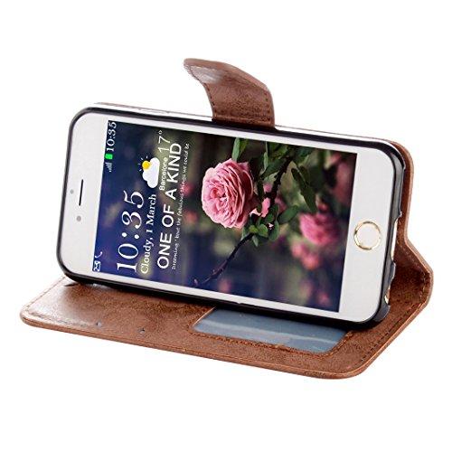 Coque iPhone 6S Plus Etui Cuir, Housse iPhone 6 Plus Folio Case, Moon mood® 3D Cas en PU Cuir pour Apple iPhone 6 Plus 5.5 pouces Telephone Portable Coque Housse Fermeture Magnétique Fente pour Carte  Brown