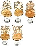 #7: SAHAYA Set of 5 Shadow Diyas( Laxmi, Ganesh, Om, Swastik & Buddha) Home Decor | Designer | Diwali Decoration with free 5 T lights