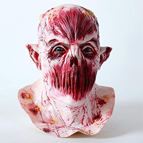 BLUEDYYY Horror Maske Zombie Scary Cosplay Kostüm Party Halloween Requisiten Dekoration Requisiten Monster Walking Dead Vollkopf Maske Ghost Latex No Mouth Monster,M